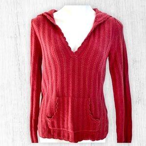 NWOT Maroon V Neck Hood lightweight Sweater